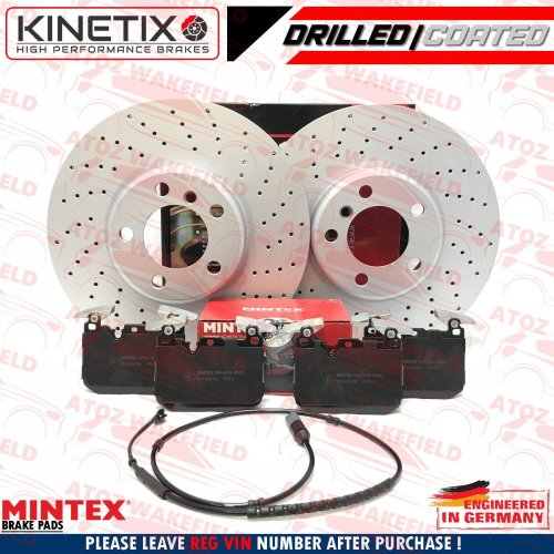 FOR BMW 1 2 3 4 SERIES FRONT DRILLED COATED BRAKE DISCS MINTEX BRAKE PADS 340mm