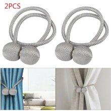2× Silver Magnetic Ball Curtain Tiebacks Tie Backs Buckle Clip