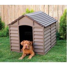 Starplast Outdoor Dog Kennel – Large - Winter Shelter Plastic Animal Hut Mocha