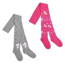 Girls 2 Pack of Unicorn Tights with Glitter Thread