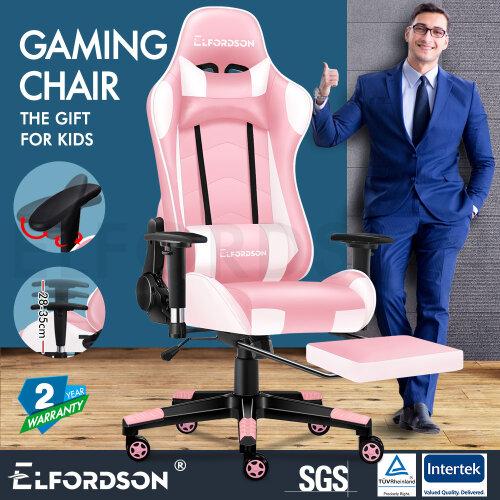 ELFORDSON Gaming Chair Office Executive Racing Seat PU Leather REGAN Pink
