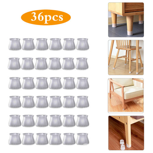 (Gray) 36pcs Silicone Chair Legs Floor Protectors Cap
