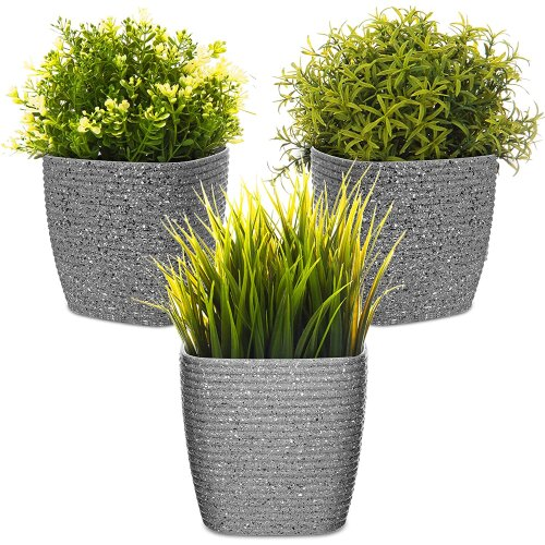 (Grey) 3Pc Flower and Plant Pot with Embossed Stripe Design for Indoor or Outdoor Use 12cm