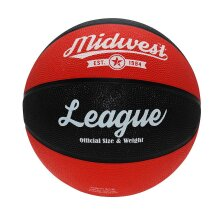 Midwest League Outdoor Recreational Mini Rubber Basketball Ball Black/Red
