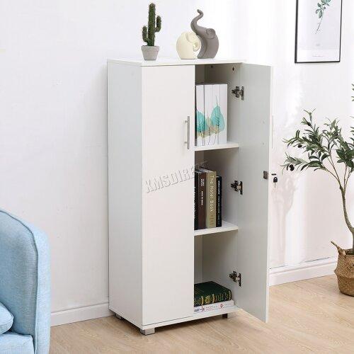(White) WestWood 3 Shelf Office Cupboard Storage with Lock Wood Filing Cabinet Organiser