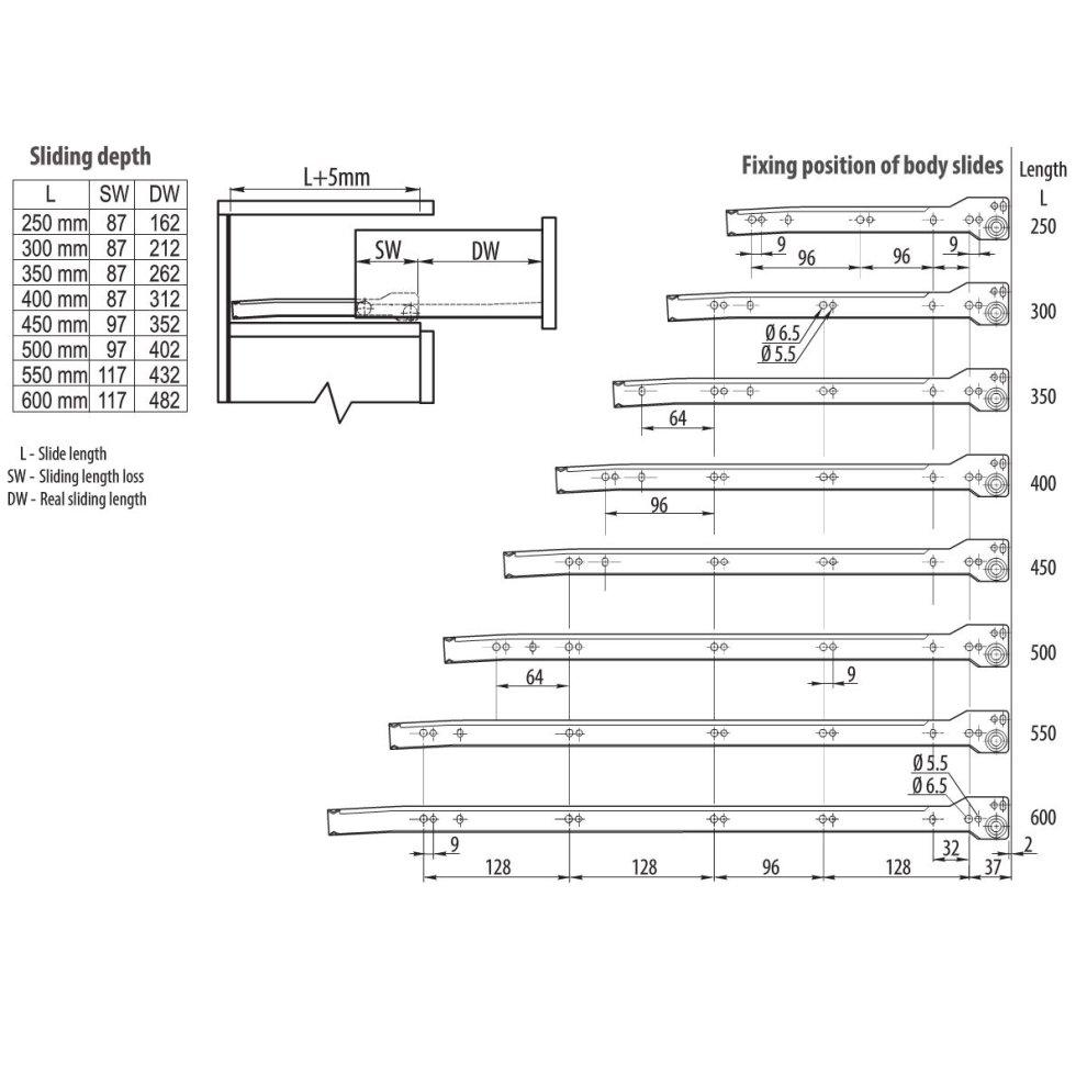 Roller Drawer Slides//Runners Bottom Fix Metal White L:550mm 4pairs