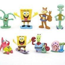 SpongeBob SquarePants 8 Piece Set with 8 SpongeBob Featuring Squidward Sandy Cheeks Patrick Star Mr. Krabs Plan Multicoloured 1pac