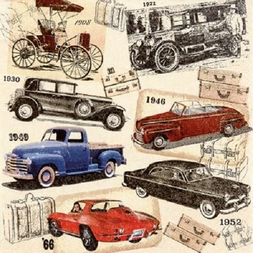 Home Fashion Pack of 20 Napkins / Serviettes - Classic Cars - 33cm x 33cm - 3ply