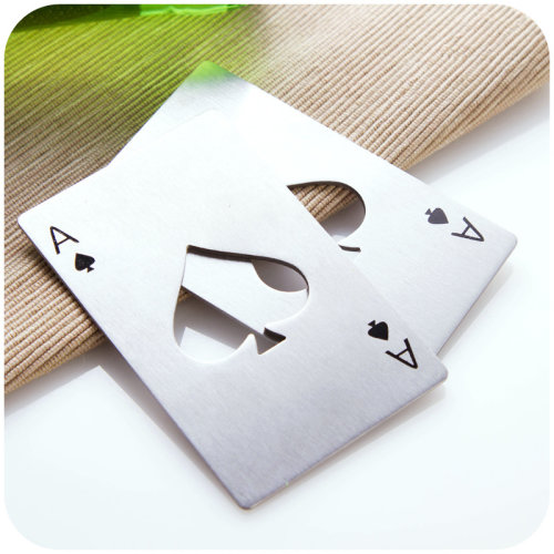 Poker Playing Card Ace Of Spades Stainless Steel Metal Bottle Opener 1 Pc