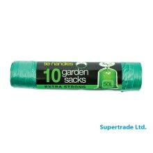 Tidyz 50L Garden Waste Bags Green Extra Strong Refuse Tie Handles - 10 Sacks