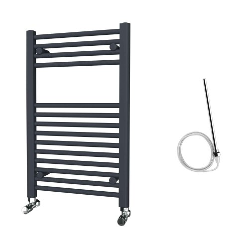 HB Essentials Zena Anthracite Straight Ladder Heated Towel Rail 800mm x 500mm Electric Only - Non-Thermostatic