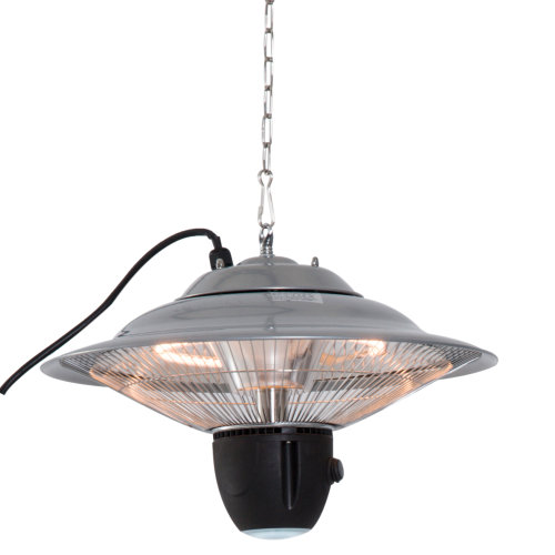 Outsunny Aluminium Patio Heater Ceiling Hanging 1500W Halogen Remote Control