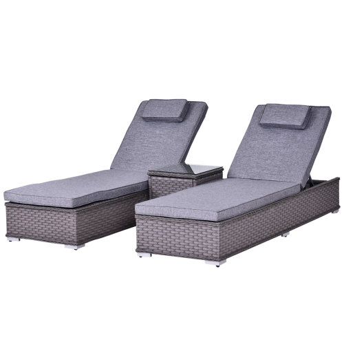 Outsunny 3 PCS Outdoor Rattan Lounger Table Sectional Conversation Furniture Set
