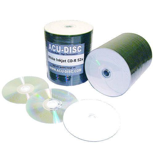 100x Blank ACU-DISC White Inkjet Printable CD-R 'H Sat' Full Face (52x) 700MB