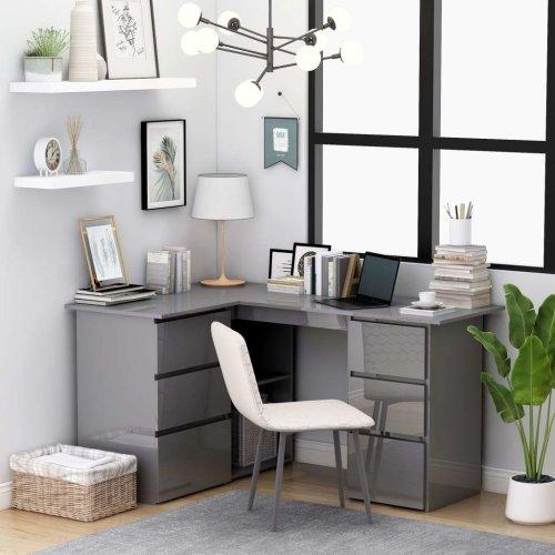 Corner Desk High Gloss Grey 145x100x76 cm Chipboard