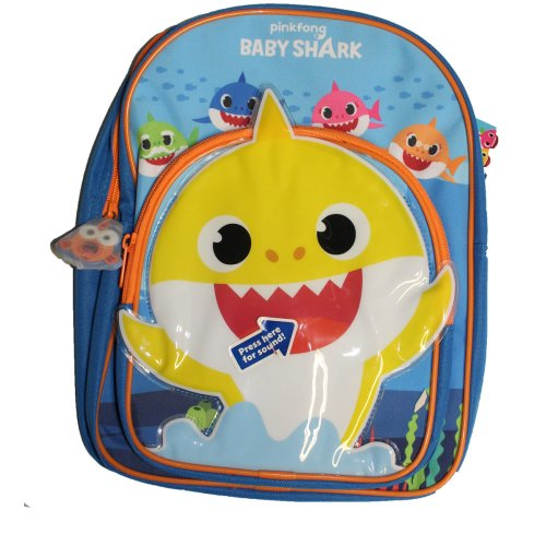 Plays a Tune Baby Shark Childrens School Backpack Bag, Blue
