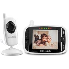 HelloBaby HB32 Wireless Video Baby Monitor with Digital Camera, 3.2 Inch Screen Night Vision Temperature Monitoring & 2 Way Talkback System