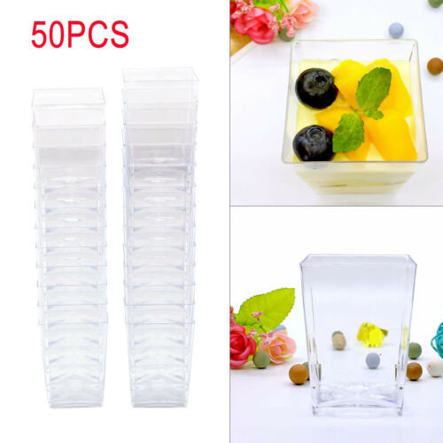 Details about  50Pcs Square Plastic Dessert Cups Mini Cubes 4oz/120m