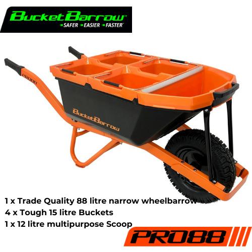 PRO88 Kit (1 Wheelbarrow 88L+ 4 Buckets 15L + 1 Scoop 12L) - BucketBarrow