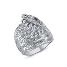 Jewelco London Mens Rhodium Plated Sterling Silver Round Cubic Zirconia Horse Rope Saddle Ring 24mm