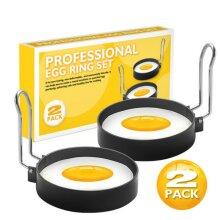 2pcs Stainless Steel Non-Stick Egg Rings Suitable for Egg Poacher Pan