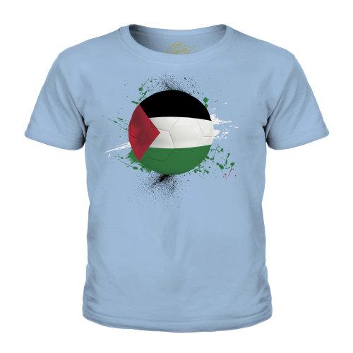 (Sky Blue, 11-12 Years) Candymix - Palestine Football - Unisex Kid's T-Shirt