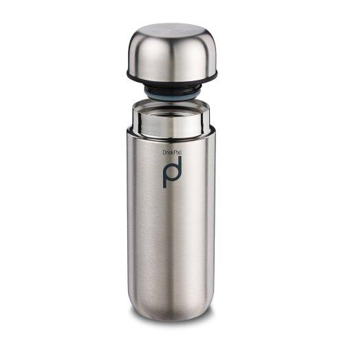 Grunwerg Pioneer Vacuum Insulated Leak Proof Drinkpod Capsule Flask 6 Hours Hot 24 Hours Cold, Satin Stainless Steel, 200 ml