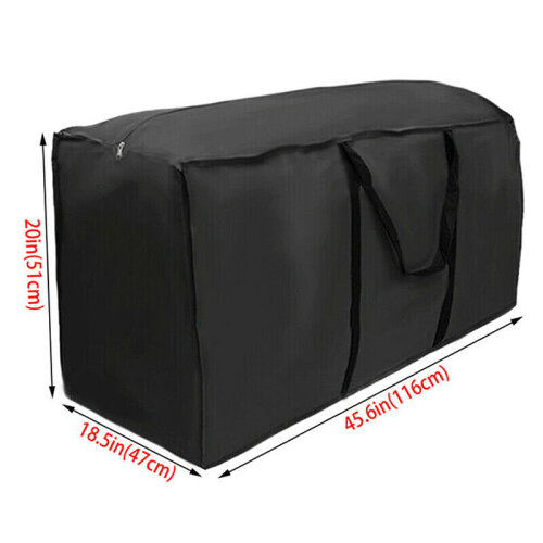 (Black, 116x47x51cm) Outdoor Cushion Waterproof Cover Storage Bag Garden Furniture Covers
