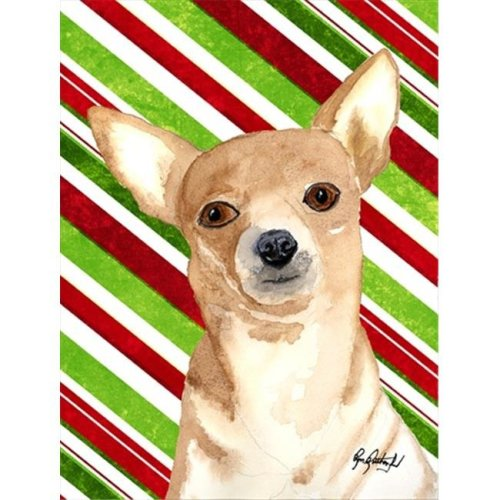 Candy Stripe Chihuahua Christmas Flag Garden Size