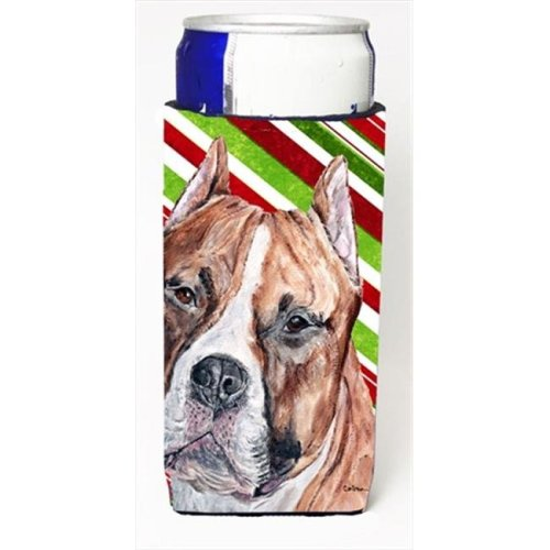 Staffordshire Bull Terrier Staffie Candy Cane Christmas Michelob Ultra bottle sleeves Slim Cans  12 Oz.