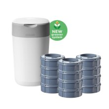 Tommee Tippee Twist and Click Advanced Nappy Bin Starter Set with 12 x Refills