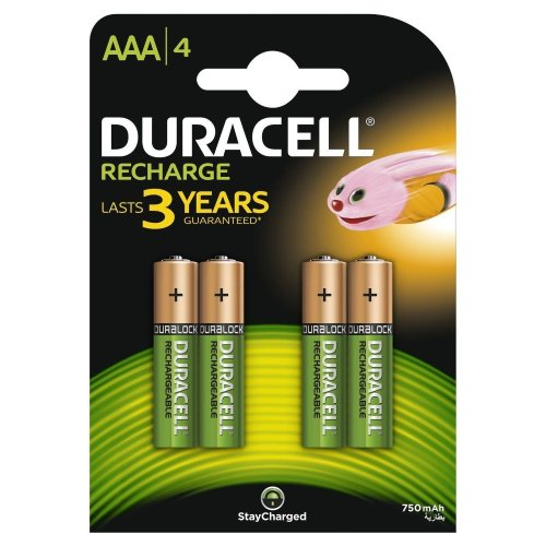 4pk Duracell AAA Size 750mAh Rechargeable Batteries