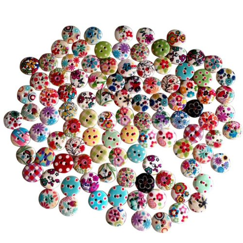 Trixes 100pc Assorted 15mm Buttons | Mixed Pack Of Craft Buttons