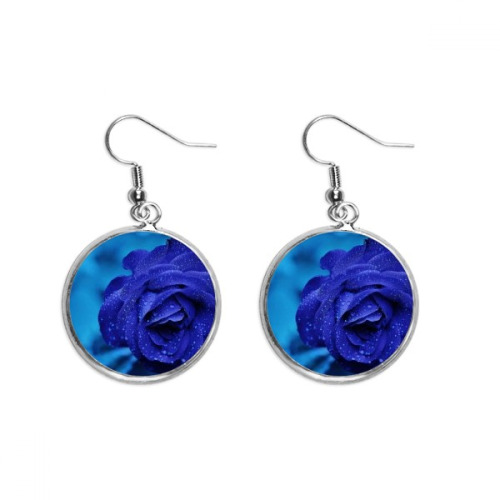 Dark Blue Roses Flowers Ear Dangle Silver Drop Earring Jewelry Woman