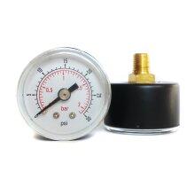 Pressure Gauge 40mm Dial 0/30 PSI & 0/2 Bar 1/8 BSPT Back Connection