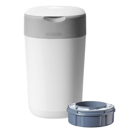Tommee Tippee Twist and Click Advanced Nappy Bin & 1x Refill Cassette, White