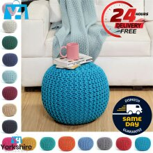Cotton Knitted Moroccan 50cm Pouffe & Footstool Round Large Chunky Ottoman Stool
