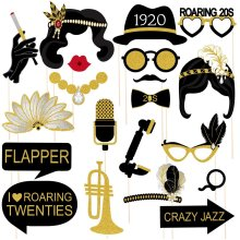 Amosfun 1920s Party Photo Booth Props Roaring 20S Party Photo Posing Props Glitter Paper Card Stock with Bamboo Sticks Decoration 20PCS