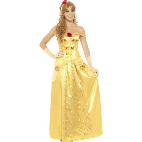 Ladies Yellow Princess Fancy Dress costume Fairy Tale Outfit Belle