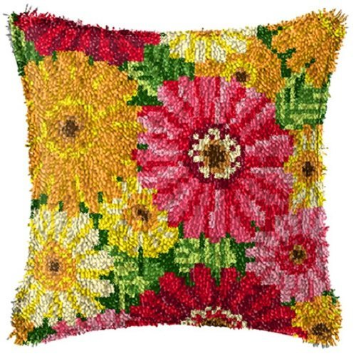 "Latch Hook Complete Cushion Cover Kit""Autumn Flowers"" 43x43cm"