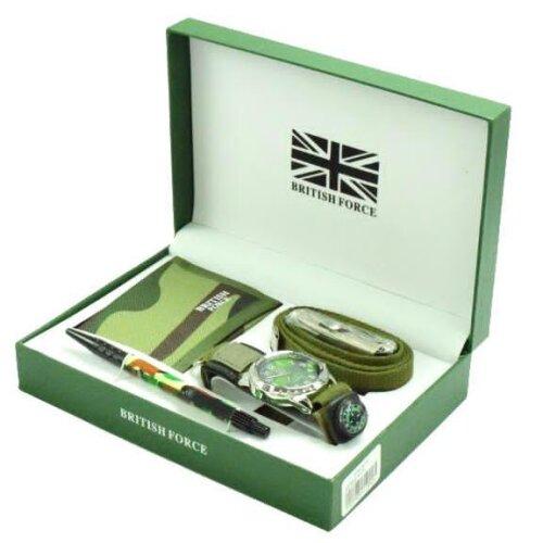 Men's British force watch belt pen wallet and compass Gift Set