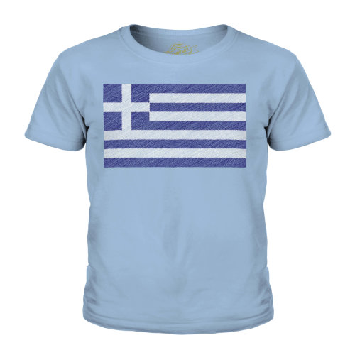 (Sky Blue, 3-4 Years) Candymix - Greece Scribble Flag - Unisex Kid's T-Shirt