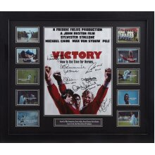 Framed Escape to Victory movie poster signed x 7 with COA & proof