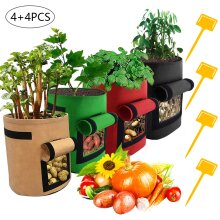 4 Pack Potato Grow Bags Tomato Plant Bag Vegetable Planter Container