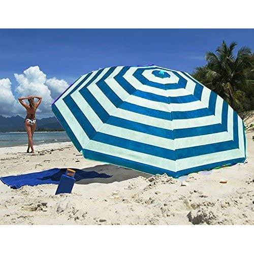 Geezy Blue Striped Polyester Garden Parasol