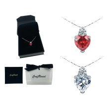 Craftuneed women zircon heart stone pendant 925 sterling silver necklace gift