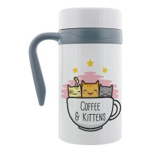 Grindstore Coffee & Kittens Thermal Travel Mug With Handle