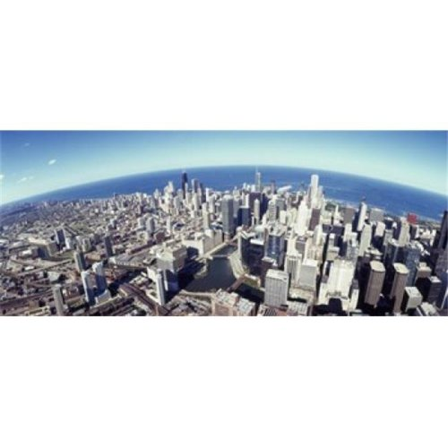 Aerial view of a cityscape with lake in the background  Sears Tower  Lake Michigan  Chicago  Illinois  USA Poster Print by  - 36 x 12