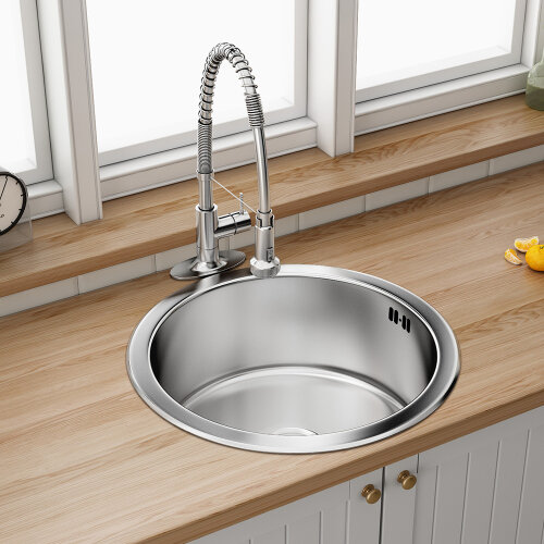 Round Kitchen Sink Stainless Steel 430mm Single Bowl With Waste Plumbing Kit