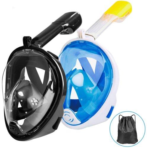 Omew Full Face Snorkeling Mask, 2 Pack Easy Breathing Snorkel Mask Snorkeling Set, 180Â Seaview Anti-fog Anti-leak Design Swimming Diving M